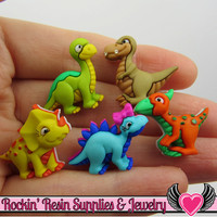 Jesse James Buttons 5 pc DINO-MITE Dinosaur Buttons OR Turn them Into Flatback Decoden Cabochons