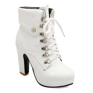 Lace Up High Heel Boots With Metal and Chunky Heel