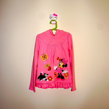 Disney Minnie Mouse Butterfly & Flowers Jacket Girls Size:7/8 Height: Up 128cm
