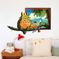 Cartoon Hayao Figure Totoro Series Cat Wall Stickers For Kids Rooms Wall Decals Poster Room Kids Room Poster Mural SM6