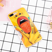 Sexy Girl Tongue Cartoon Case for iPhone 6 6S 6plus 6s Plus 7 7Plus 5 SE 5S