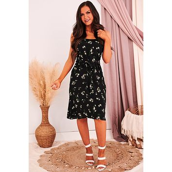 Hello Daisy Floral Dress (Black/Green)
