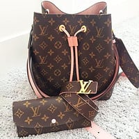 Louis Vuitton LV Sells Fashionable Women's Printed Bucket Bag + Purse + Belt
