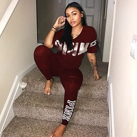 Victoria's Secret Pink Popular Women Casual Print Short Sleeve Set Two-Piece Sportswear Burgundy