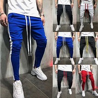 Men Casual Gym Slim Sports Fit Trousers Tracksuit Bottoms Skinny Joggers Sweat Drawstring Track Side Stripe Pants