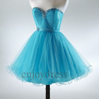 Custom Blue Beaded Tulle Satin Short Prom Dresses Fashion Evening Gowns Wedding Party Dress Party Dress Bridesmaid Dresses 2014 Dress Party