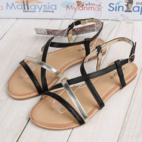 Criss Cross Strappy Buckled Slingback Flat Sandals