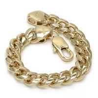 Gold Layered 04.63.0133.09 Basic Bracelet, Miami Cuban Design, Polished Finish, Golden Tone