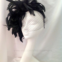 Black Fascinator NYC Black feathers Birdcage net. USA by doramarra
