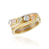 Torrini Designer Rings Bezel-set Diamond Three-tone 18K Gold Stackable Ring - Set of Six