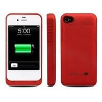 Greenery* BXT® Colourful Slim External Rechargeable Backup Battery Charger Charging Case Cover for iPhone 4 4s/with Real Leather Cover (2300mAh) (CRIMSON)
