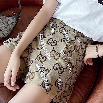 GG jacquard denim high waist shorts double letter printed leather label