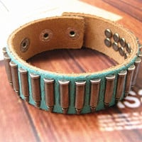 Rock  Punk Style Green Leather with bullet Pendant  Women Leather Cuff Bracelet   SL0021-GR
