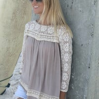 Shoreline Latte Quarter Sleeve Lace Detail Peasant Top