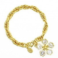 Gold Layered 03.63.1244.08 Charm Bracelet, Flower Design, with White Cubic Zirconia, Polished Finish, Golden Tone