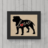 """Pitbull """"Pittie"""" Love (Option 2 - Undocked) - Burlap or Canvas / Wall Art Print for Dog Lovers: Great Gift / Personalized (Free Shipping)"""