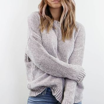 Warmer Together Gray Distressed Chenille Sweater