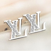 LV Louis Vuitton New fashion diamond  letter earring women Silver