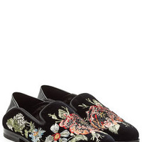 Embroidered Velvet Slippers with Leather - Alexander McQueen | WOMEN | KW STYLEBOP.com