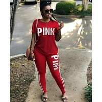 PINK Victoria's Secret Women Fashion Shirt Top Tee Pants Trousers Set Two-Piece