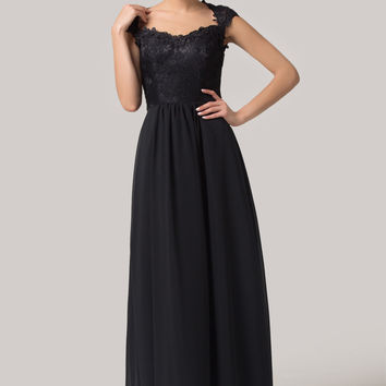 Black Embroidered Mesh Lace Sleeveless Maxi Evening Dress