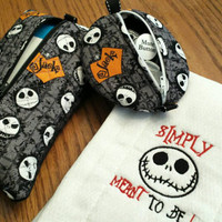 Baby Wipes Case Pacifier Pouch Pod BIB or Burp Cloth Nightmare Jack Skellington Baby Shower Gift Set! Adorable Designs by Sugarbear