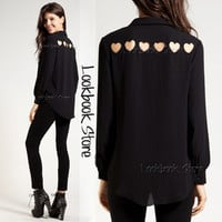 Women Chiffon Heart Cut Out Back Sheer Point Collar Long Sleeve Shirt Blouse Top