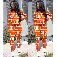 Champion Autumn Popular Women Casual Print Hoodie Sweater Top Pants Trousers Set Two-Piece Sportswear Orange
