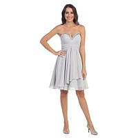 Chiffon Knee Length Semi Formal Dress Silver Strapless