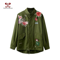 2016 New Arrival Women Army Green Jacket Coats Ladies Oriental Flowers Peacock Embroidered Appliques Loose Punk Jacket Coat M194