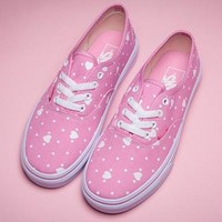 Vans Pink Heart Canvas Old Skool Flat Sneakers Sport Shoes
