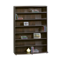 Cinnamon Cherry Bookcase Storage Tower with 6 Adjustable Shelves
