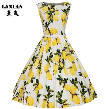LANLAN XS-4XL Lemon Printing Swing 1950s Dress 2016 Lemon Printing Midi Length Vintage Tutu Dresses Women Plus Size Summer Dress