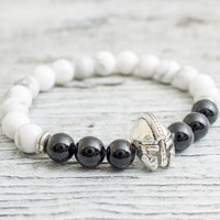 White howlite stone and black onyx beaded silver Spartan helmet stretchy bracelet, mens bracelet, womens bracelet