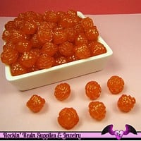 25 pc ROSE Flower Acrylic Jelly Beads in Tangerine Orange Color 14mm