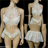 Dripping in Pearls White Lace Bra and Skirt Dance Costume Rave Halloween