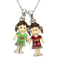 Best Friends Forever BFF Girls Necklace Pendant Green Red Teens Fashion Jewelry