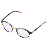 Retro Geek Vintage Leopard Nerd Large FrameRound Clear Lens Glasses Multicolor BlackBrownLeopard printMulticolor