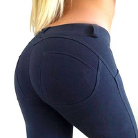 2017 Low Waist Bodybuilding Pencil Leggings Women Sexy Hip Push Up Elastic Jegging Pants Sexy Gothic Leggins Fashion HOT Legins