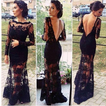 Women's Long Formal Prom Cut out Ballgown Bridesmaids Floral Lace Maxi Dress S0B = 1904204292