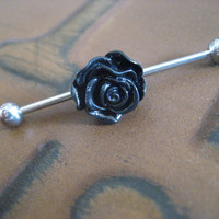 Black Rose Industrial Barbell Piercing- Scaffold Bar Surgical Steel Ear Earring Jewelry
