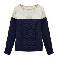ZLYC Women Classic Colorblock Boatneck Pullover Jumper Cable Knitted Sweater Navy