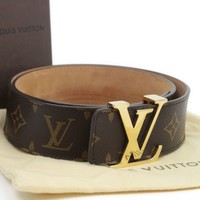 Authentic Louis Vuitton Ceinture LV Monogram Leather Belt Size 110/40mm