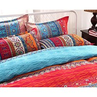 Ms.O Stripe  Geometric Ethnic Vintage Bed Linen Full Twin Queen King Size Morocco Indian Bedding Set Bohemian Duvet Cover Set