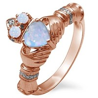 Kay - Lab-Created Opal Couple's Claddagh Ring Rose Gold