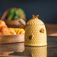 Stoneware Bee Skep Design Honey Jar and Wood Honey Dipper,Golden Yellow,Country style kitchen seasoning pot,cute home decoration