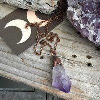 Raw Crystal Necklace / Amethyst Pendant / Electroformed Necklace / Handmade Witchy Necklace /  Healing Crystal Jewelry / Large Raw Amethyst
