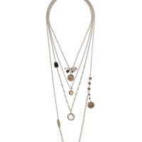 Bead And Medallion Necklace Set - Gold/Black