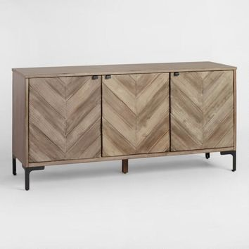 Chevron Wood Storage Cabinet