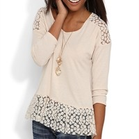 Three Quarter Sleeve High Low Top with Daisy Crochet Trim